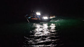Barco del calamar en la noche, Da Nang, Vietnam Fotografía de archivo
