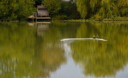 Barco del juguete en un lago imagen de archivo