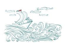 Barco del papel de la papiroflexia en las ondas del mar con un marinero ilustración del vector
