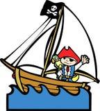 Barco del pirata con el muchacho #1 Fotografía de archivo