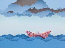 Barco do Euro na tempestade fotos de stock royalty free