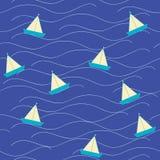 Barco do origâmi de Nautica no mar ilustração do vetor