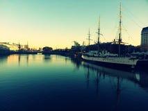 Barco do pôr do sol Fotografia de Stock