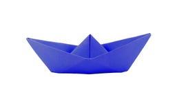 Barco do papel azul do origâmi Imagem de Stock
