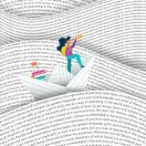 Barco do papel da navigação da menina no conceito do mar da educação Imagem de Stock Royalty Free