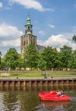 Barco do pedal em um canal em Nordhorn Imagens de Stock Royalty Free