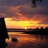 Barco do por do sol fotos de stock royalty free