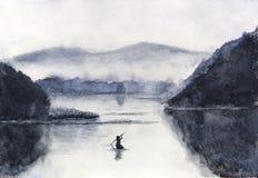 Barco e isla de pesca de la acuarela con las montañas Oriental tradicional estilo del arte de Asia stock de ilustración