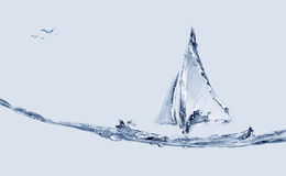 Barco e peixes de salto Fotos de Stock Royalty Free