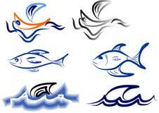 Barco e peixes do logotipo Imagens de Stock