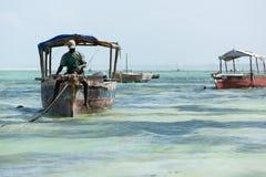 Barco e pescador no oceano Foto de Stock Royalty Free