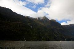 Barco em Milford Sound Fotografia de Stock