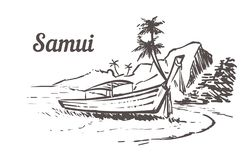 Barco en el agua cerca de la playa con las palmeras y las piedras Ejemplo exhausto del bosquejo de la mano de Samui ilustración del vector