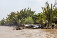 Barco en el delta del Mekong Foto de archivo