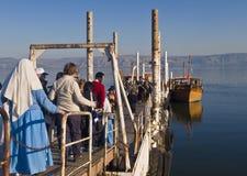Barco en el mar de Galilee Imagenes de archivo
