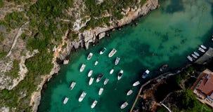 Barco en el mar en la visión aérea Foto de archivo libre de regalías