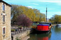 Barco en el río Nene, Peterborough fotos de archivo libres de regalías