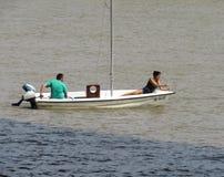 Barco en el río Sava Foto de archivo