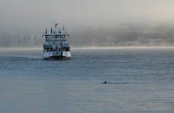 Barco en Estocolmo al día de invierno de niebla Imágenes de archivo libres de regalías