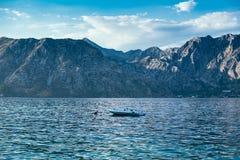 Barco en la bahía de Kotor, Montenegro fotografía de archivo