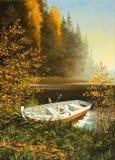 Barco en la batería del lago Stock de ilustración