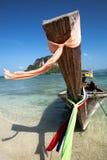 Barco en la playa hermosa en Tailandia Fotografía de archivo libre de regalías