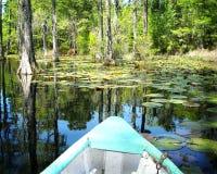 Barco en los jardines Carolina del Norte del pantano del ciprés Foto de archivo libre de regalías