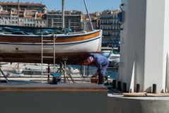 Barco en Vieux-puerto Imágenes de archivo libres de regalías