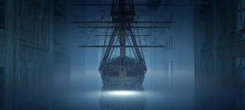 barco encallado en la ciudad Foto de archivo libre de regalías