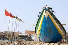 Barco indio de los pescadores una aldea Imágenes de archivo libres de regalías