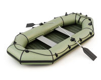Barco inflable aislado en el fondo blanco Fotos de archivo libres de regalías