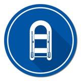 Barco inflable con el icono simple de los remos Fotografía de archivo