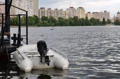 Barco inflable del rescate Imagen de archivo libre de regalías