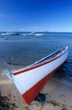 Barco local no console de Maurícia da praia Foto de Stock Royalty Free