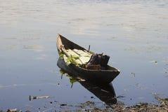 Barco malgaxe tradicional - canoe na praia africana foto de stock