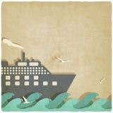 Barco marino en viejo fondo de las ondas Fotografía de archivo