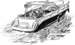Barco a motor do prazer ilustração do vetor