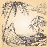 Barco na costa de mar ilustração do vetor