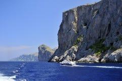 Barco na costa do Sa Calobra Imagens de Stock Royalty Free