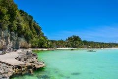 Barco na lagoa azul, ilha de Boracay, Filipinas fotografia de stock