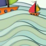 Barco no mar ilustração do vetor