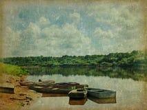 Barco no rio ilustração royalty free