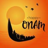 Barco no rio no fundo decorativo para o festival indiano sul Onam Imagem de Stock Royalty Free