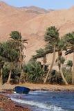 Barco, palmas e montanhas na costa de mar Foto de Stock