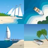 Barco pela ilustração lisa do vetor do mar Imagem de Stock