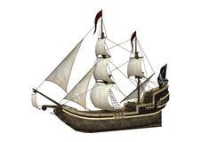 barco pirata de la representación 3D en blanco Fotos de archivo libres de regalías