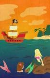 Barco pirata de la sirena en el océano Foto de archivo libre de regalías