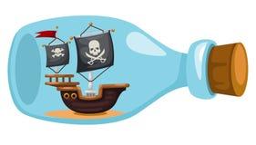 Barco pirata en botella ilustración del vector