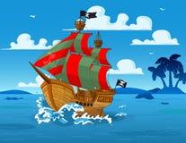 Barco pirata en el mar stock de ilustración