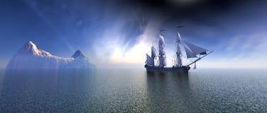 Barco pirata en el océano Imagenes de archivo